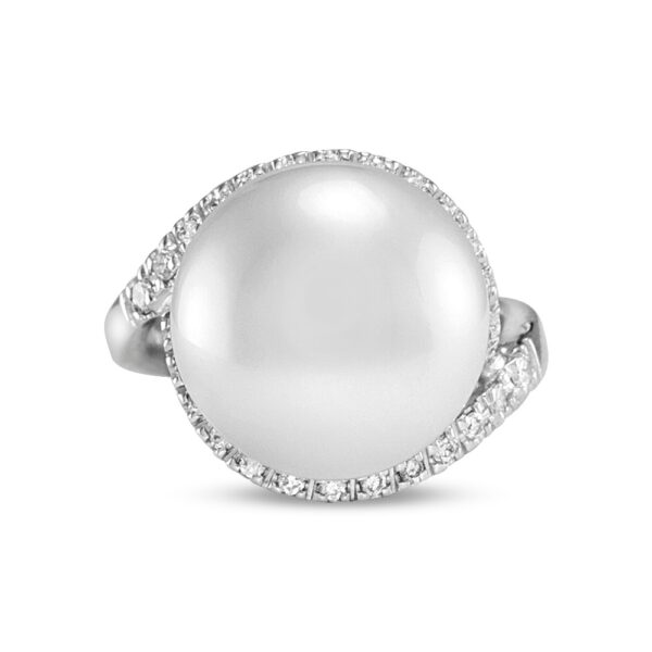 18k White Gold Halo Ring With South Sea Pearl and Diamonds