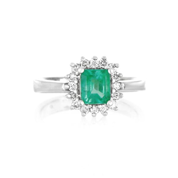 0.32 Ct. Diamond & 1 Ct. Emerald Gemstone Ring in 18K White Gold