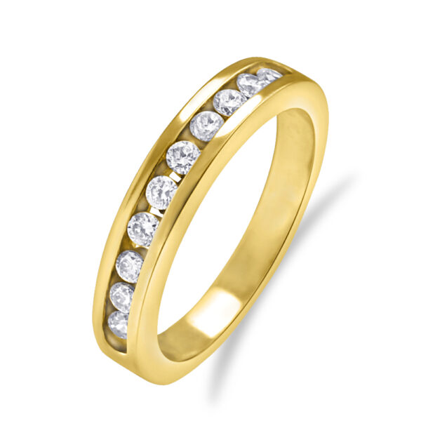 Classy and Stylish 10k Gold Wedding Band with Cubic Zirconia