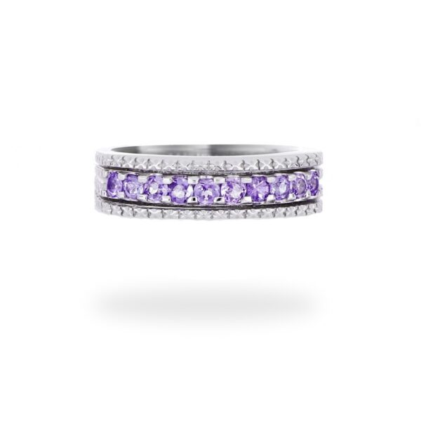 18K White Gold Women Wedding Band With Purple Tanzanite Gemstone( December Birthstone)