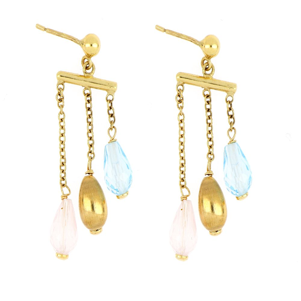 18K Yellow Gold Earring With Topaz and Quartz