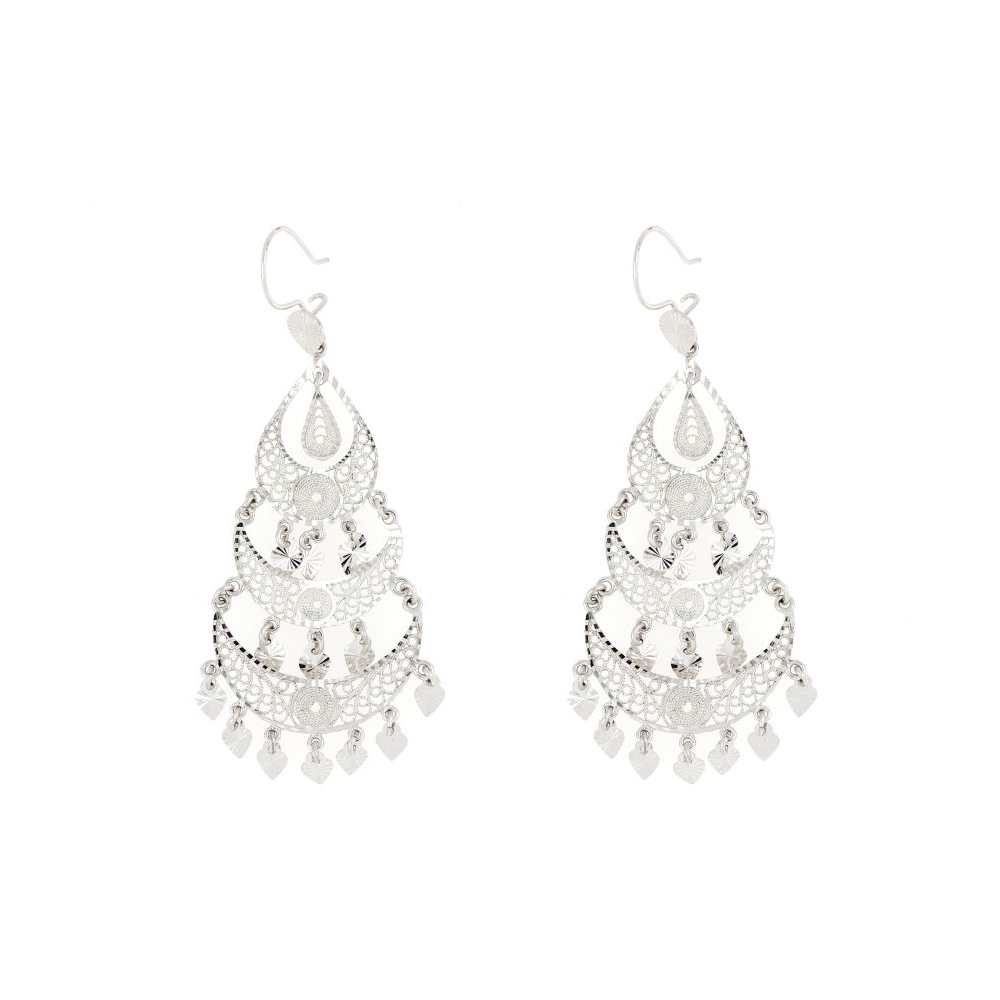 14K White Gold Long Chandelier Earrings