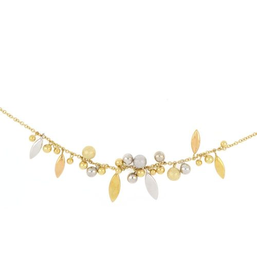 18K Yellow Gold Balls and Leaves Hanging from Chain Necklace
