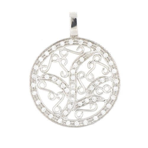 18K white Gold Tree in Circle Design Diamond Pendent