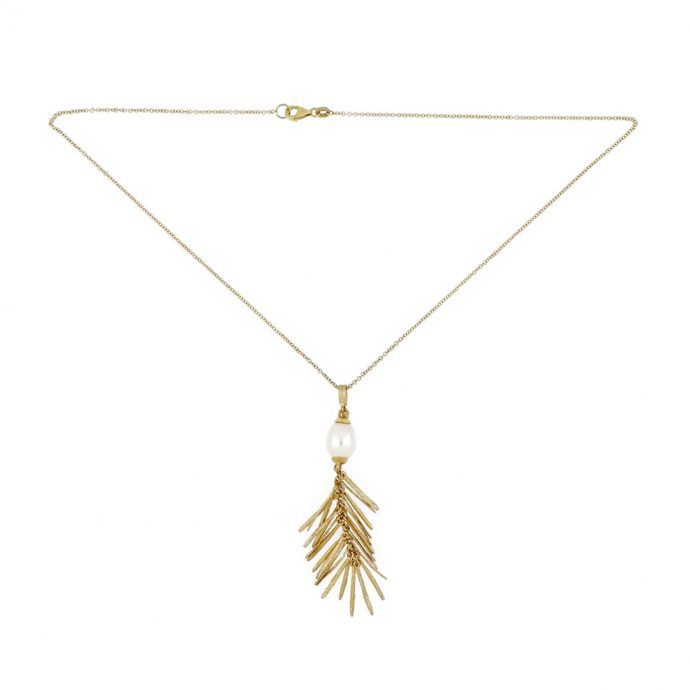 18K Yellow Gold Pearl Necklace