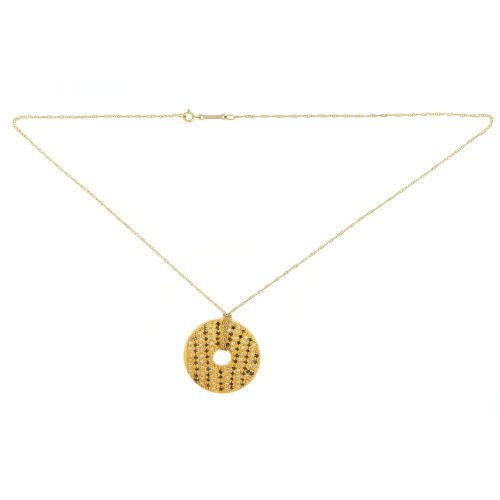 18k Yellow Gold Circle Pendent with black Diamonds with Chain