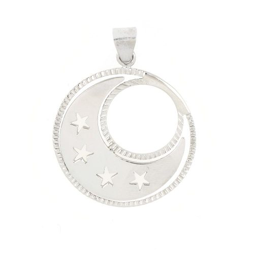18K White Gold Moon star Pendant