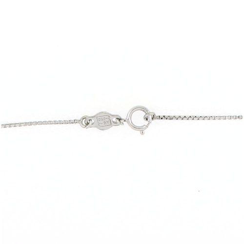 18K White Gold Circle Line Diamond Pendent Necklace