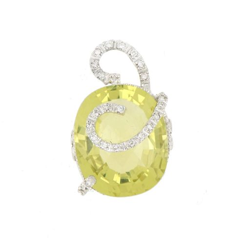 14K White Gold Designer Citrine Pendant With Diamond Accent