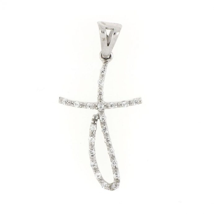 18K White Italian Gold Cross With Cubic Zirconia