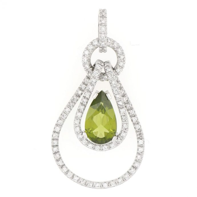 14K White Gold Peridot Pendent Necklace