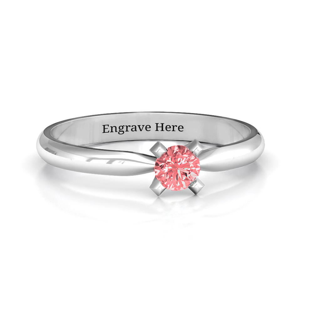 Personalized Diamond Ring with Engraving