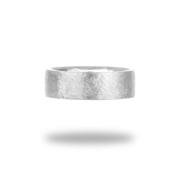 7mm 10K Gold Hammered Flat Comfort Fit Wedding Band in White Gold