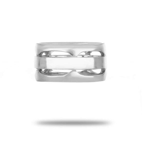 Men Comfort fit Wedding Band in 18k White Gold- Size 6.5
