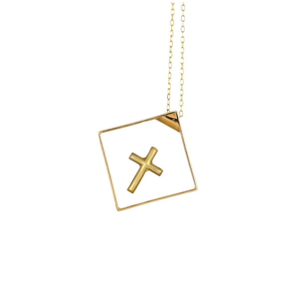 18K and 10K Yellow Gold Rhombus with Cross Suspended Inside