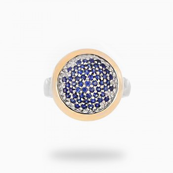 0.86 CT. Blue Sapphire Gemstone ring in 18k two tone Gold