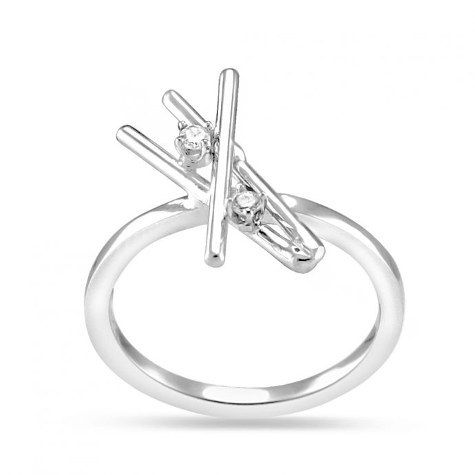 14K White Gold Ring Unique Style