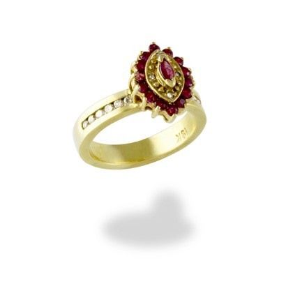 0.32 Ct. Ruby & Diamond Ring in 18K Yellow Gold