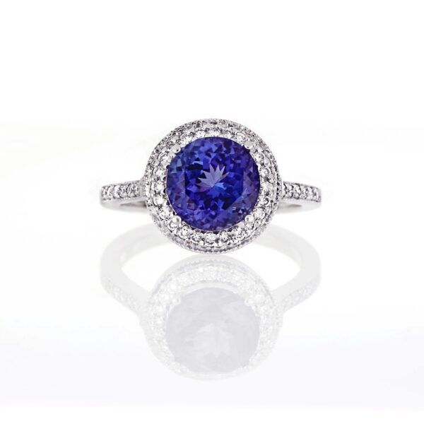 3.24 Ct. Tanzanite & 0.38 Ct. Diamond Ring in 18k White Gold